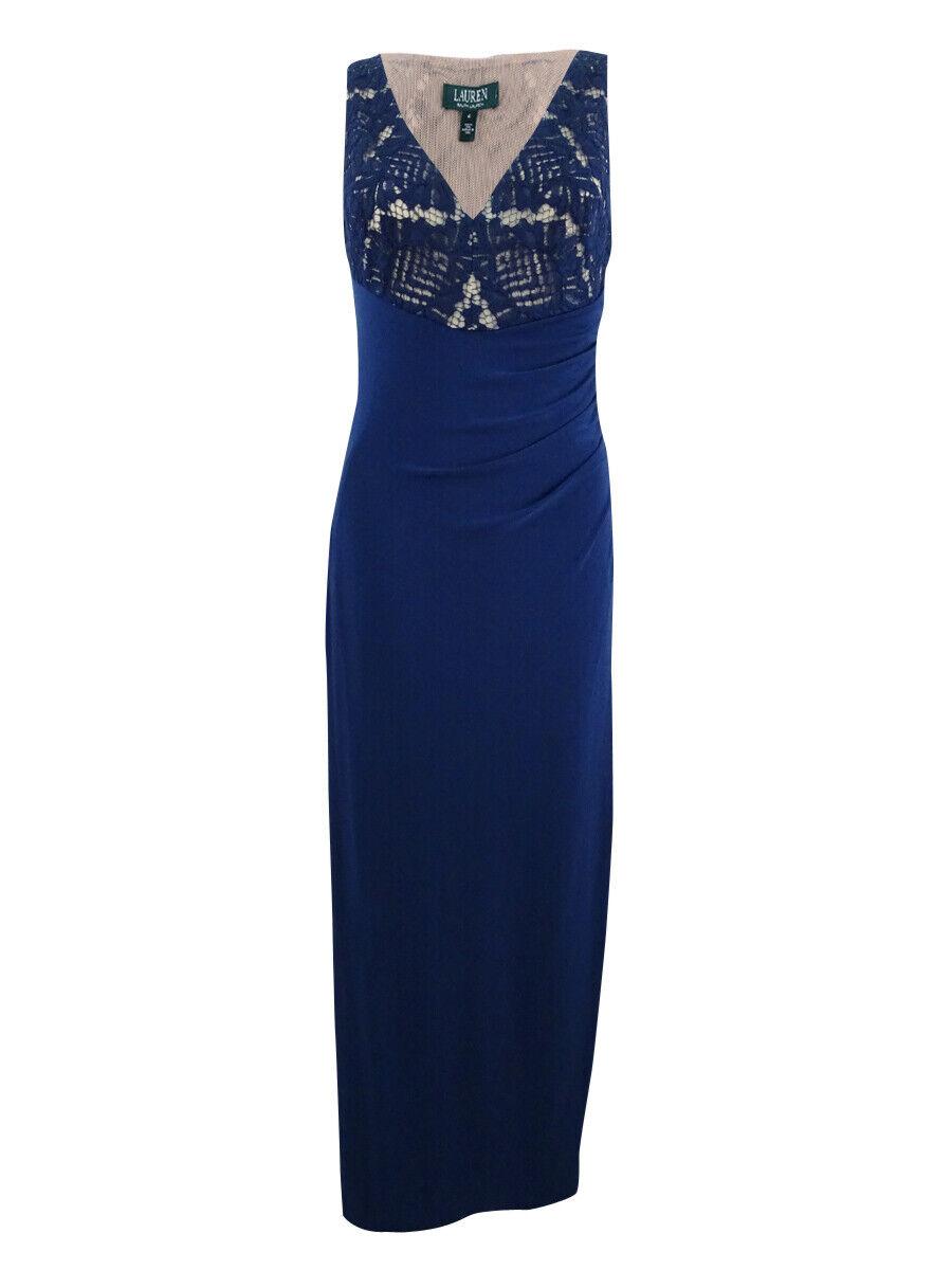 Vestido  de Noche Lauren Ralph Lauren para Mujer con Encaje ilusión fleaurbelle (4), Indigo  bajo precio