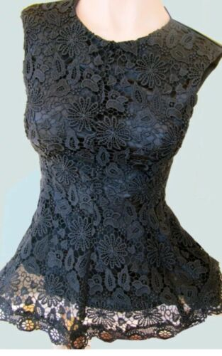 Black Lace Top Structured Peplum Zara Guipure Medium Rare Lined 547fqPwWc