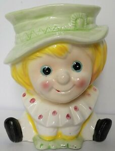 Vintage-Ceramic-Relpo-Clown-Planter-Vase-Pale-Green-amp-Yellow-Baby-Nursery-Decor