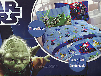 STAR WARS Microfiber 3 pc TWIN Sheet Set NEW Gray White Teal Red