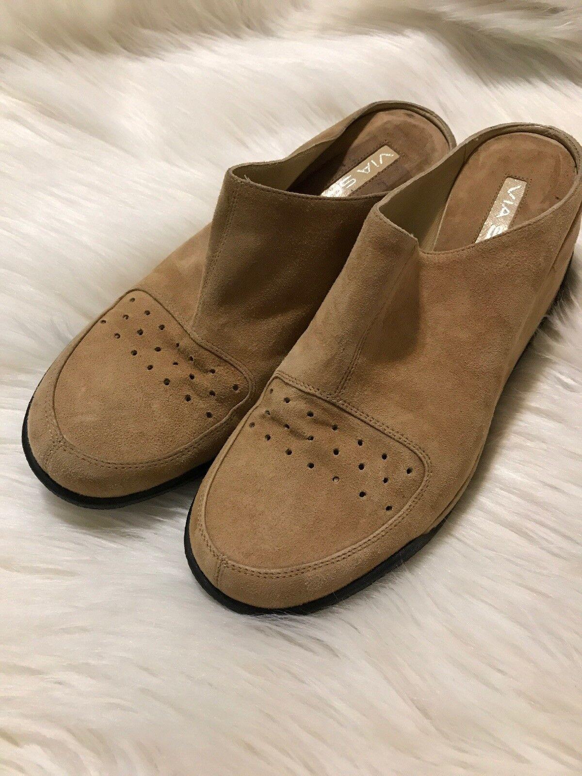 Via Spiga Tan Suede Slip-on Mules Wedge shoes Heels  Sz 8.5 Casual