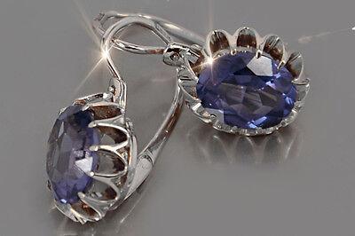 ve174s Russian Soviet Corundum Alexandrite /& other color stones silver earrings.