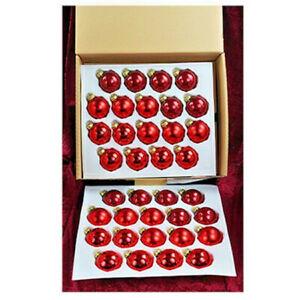 36-teiliges-Christbaumkugel-Set-Lauscha-in-Rot-Weihnachtsrot-matt-und-glaenzend