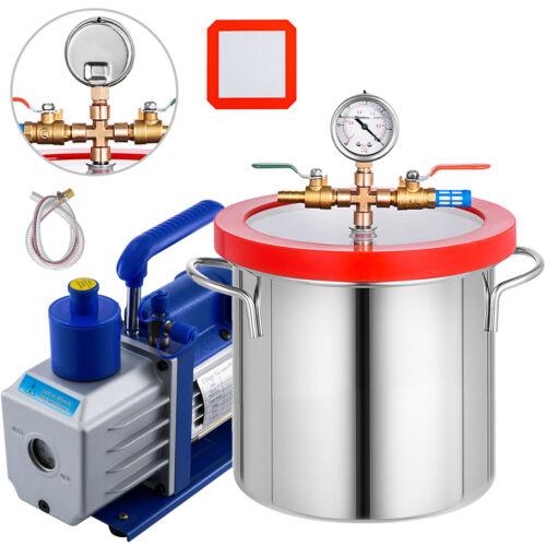 2 Gallon Vacuum Chamber Degassing 5CFM Vacuum Pump 1//3HP 1720RPM Stainless Steel