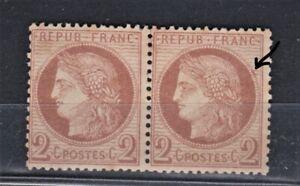 FRANCE-CLASSIQUE-CERES-PAIRE-YT-51-2c-BRUN-NEUFS-SANS-TRACE-SIGNE-CALVES-VARIETE