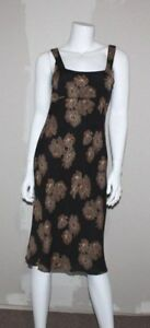 J-CREW-Womens-Brown-amp-Black-Empire-Waist-Silk-Sleeveless-Dress-Size-0