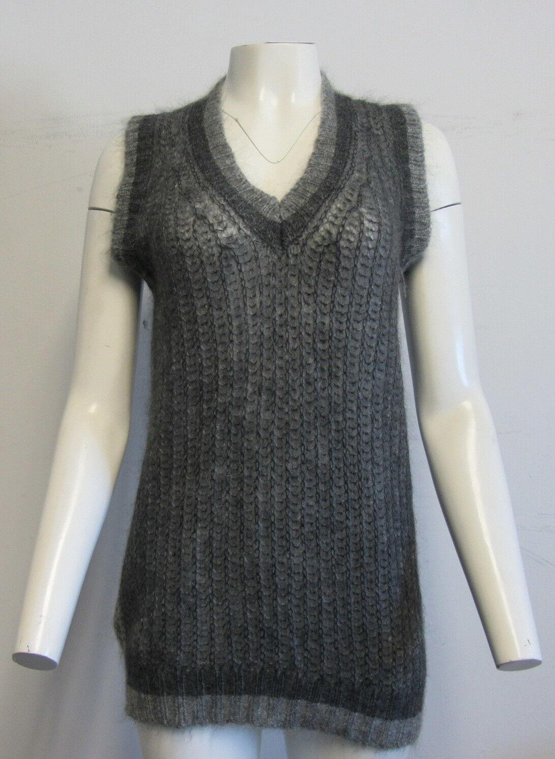 PRADA Two Tone Grey Ribbed mohair-blend vest tunic SZ 40