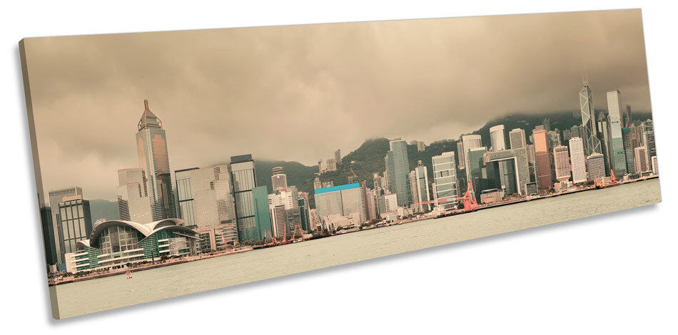 Hong Kong Skyline Misty Panoramic CANVAS WALL ART Framed Print