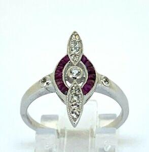 Art Deco Ruby Ring Ruby & White Topaz 925er Silver Antik Style #53