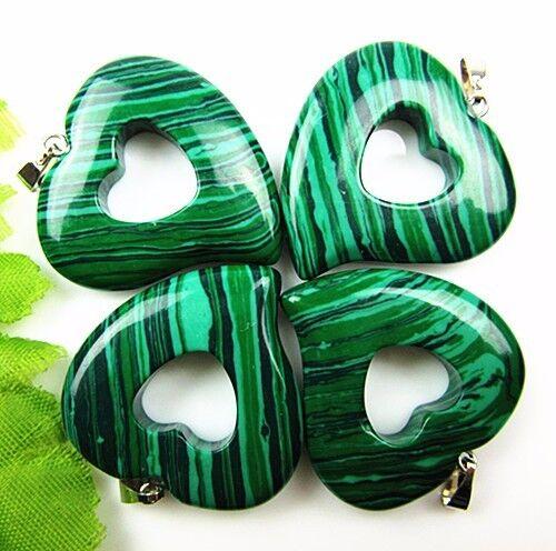 4PCS magnifique unique Noir Vert Malachite sculpté pendentif en forme de cœur Bead Vk449