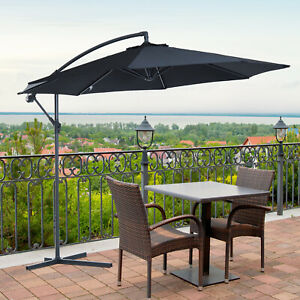 Outsunny 3m Garden Parasol Sun Shade Banana Umbrella Cantilever Black
