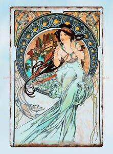 La Peinture 1898 Alphonse Mucha art nouveau metal tin sign western home decor