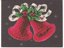 Vintage Christmas Card Honeycomb Design Bells 1950's Norcross Holiday Bells