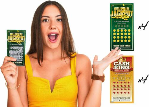 8 Fake Lottery Tickets and Scratch Off Cards that Look Real Funny Prank Gag Set