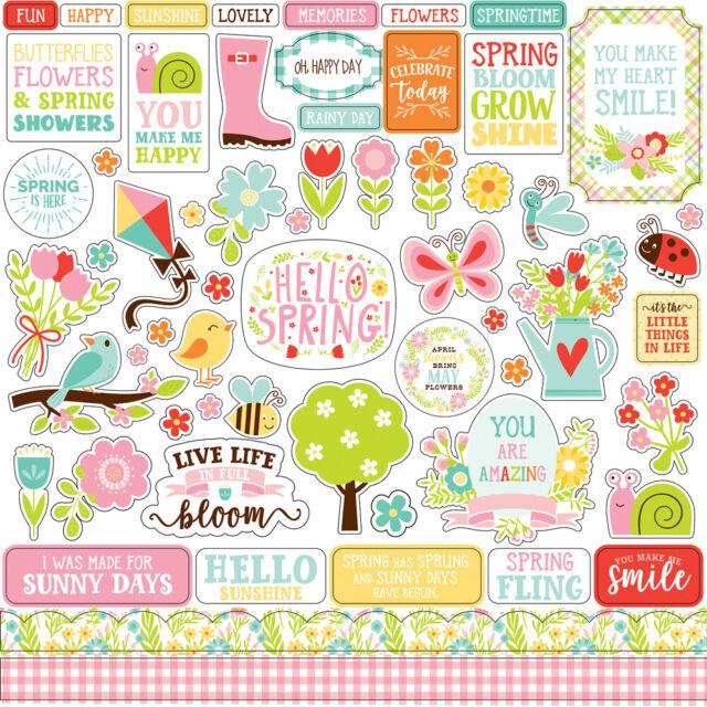 Stickers Garden Flower Spring 12x12 Scrapbook Kit Papers Echo Park