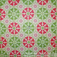 BonEful Fabric FQ Cotton Decor VTG White Pink Green Flower Star Dot Girl Nursery
