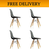 4 X (4x) (x4) Black Eames Eiffel Style Dsw Lounge Dining Chair Wood Modern Beech