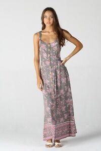 NWT-Angie-Open-Back-Print-Floral-boho-Summer-Sun-Maxi-beach-Gray-Dress-S-M-L