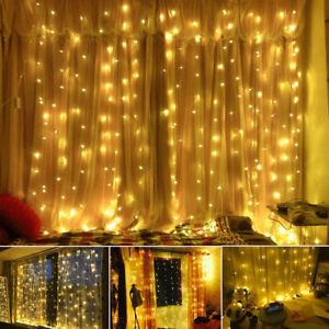 3mx3m Led Lichtervorhang Lichterkette Weihnachten Garten Fenster