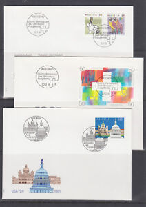 Switzerland-Mi-1436-1460-1991-issues-8-sets-on-8-individual-cacheted-FDCs