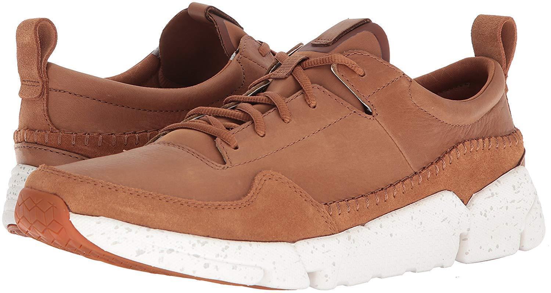 Mens Clarks Triactive Run Lace Up Sneakers - Tan Nubuck
