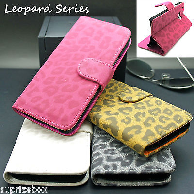 LEOPARD PRINT SUEDE LEATHER LUXURY CARD WALLET STAND FLIP CASE  FOR HTC ONE M9