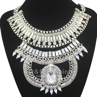 Egyptian Cleopatra Snake Box Chain Gemstone Statement Bib Necklace Fancy Dress