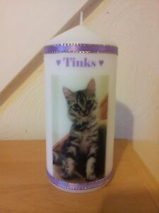 Personalised Pet Memorial Photo & Mots Pour Chien Chat Lapin Bougie Cadeau Enveloppé-afficher Le Titre D'origine