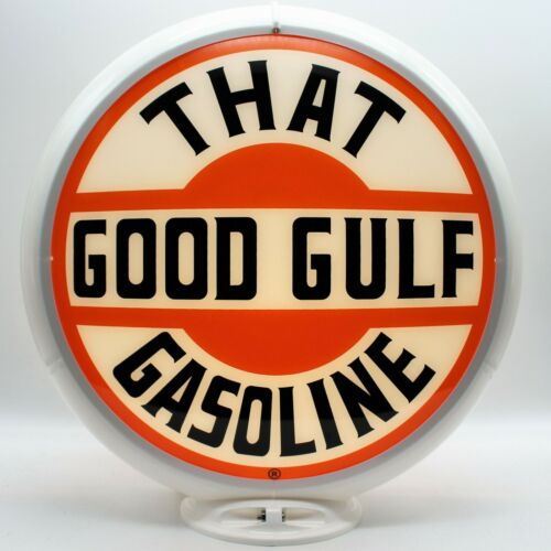 """THAT GOOD GULF 13.5/"""" Gas Pump Globe SHIPS FULLY ASSEMBLED READY FOR YOUR PUMP!"""