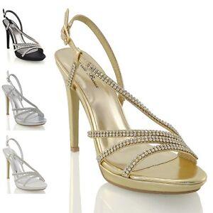 515d29d4b Womens High Heel Platform Shoes Ladies Diamante Bridal Sparkly Party ...