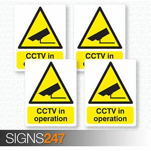 4-x-CCTV-STICKERS-CCTV-In-Operation-Self-Adhesive-Vinyl-Stickers-100mm-x-130mm