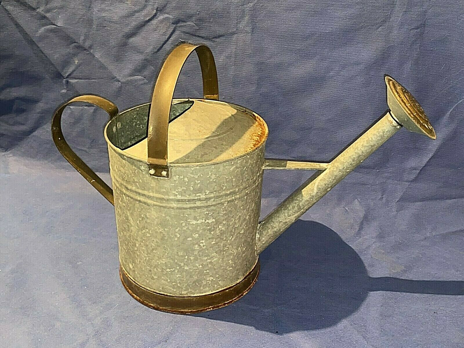 Vintage Two Handle Galvanized Watering Can 2 Gallons with Flower Sprinkler