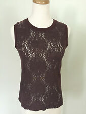 ONLY HEARTS | Women's Brown Lace Cotton Vest Top SZ S Free Shipping!