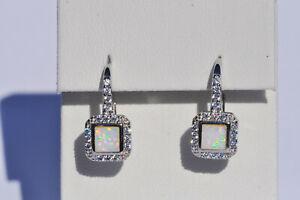Echt-925-Sterling-Silber-Ohrringe-mit-Zirkonia-weiss-synth-Opal-Hochzeit-Nr-281