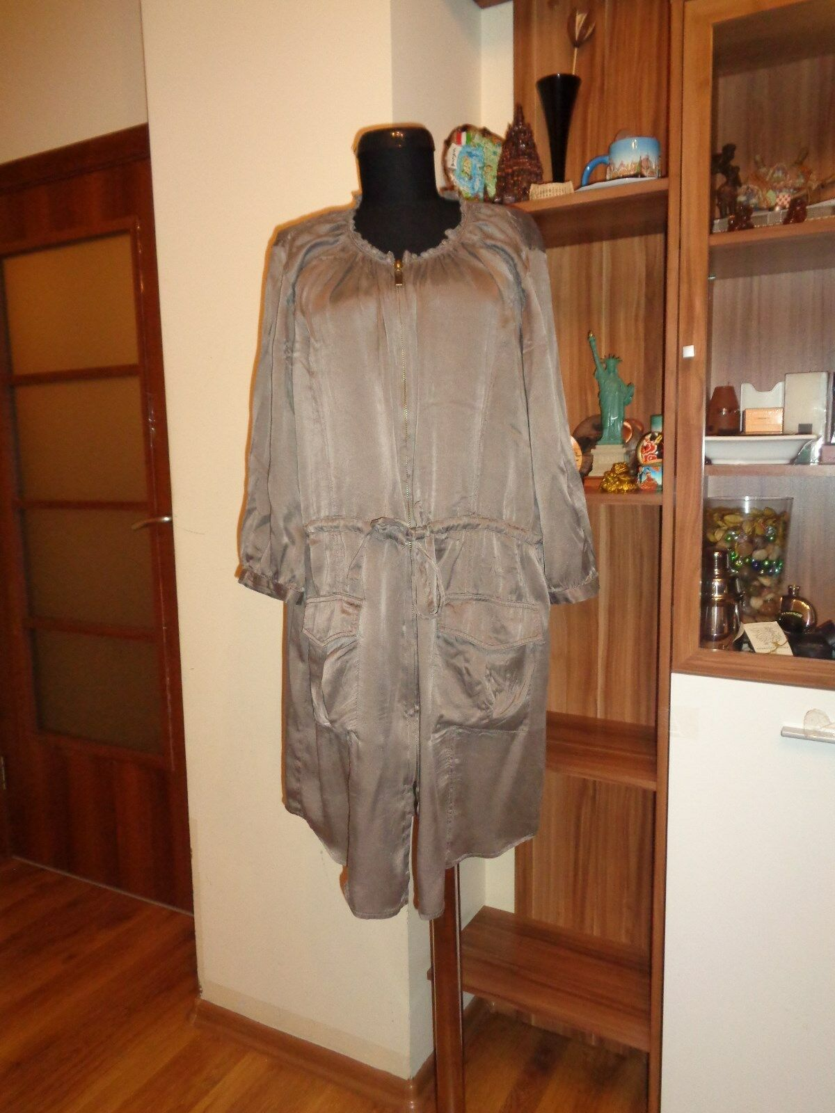 ILSE JACOBSEN HORNBAEK SILK ZIPPED TIED WAIST TAUPE RELAXED DRESS-SIZE 38