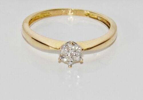 Oro 18ct Diamond Cluster anillo de compromiso-Talla M