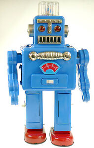 ROBOT-SMOKING-BLUE-60-039-RETRO-COLLECTORS-TIN-TOY-ROBOT-VARIOUS-COLOURS-TINPLATE