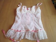 Ladies pale pink & white boned underwired Basque size 10/12