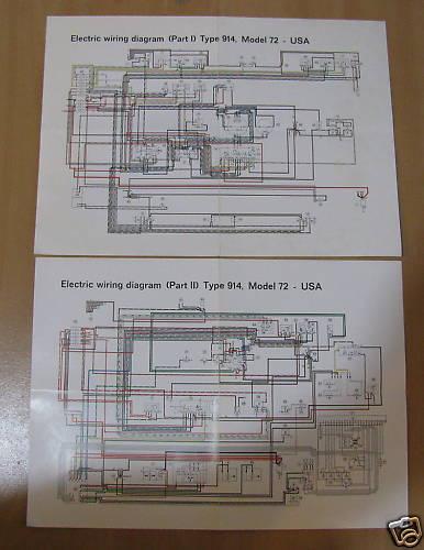 Porsche 914 Factory Color Wiring Diagram Nos New