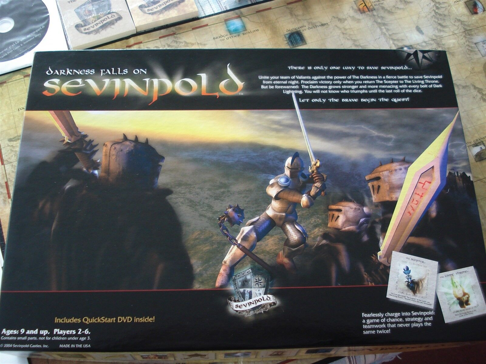 DARKNESS FALLS ON SEVINPOLD GAME - UNUSED - CARDS PIECES SEALED - DARKNESS FALLS