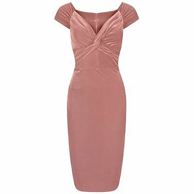 Vintage 40s Salmon Pink Velour Hollywood Wiggle Bodycon Pencil Cocktail Dress
