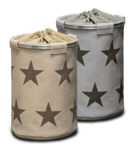 Sternenmuster Wäschekorb Wäschetonne grau Sterne Wäschebehälter