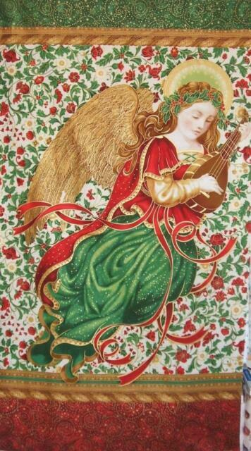 ROBERT KAUFMAN HOLIDAY FLOURISH ANGEL Metallic 100/% cotton fabric by the panel