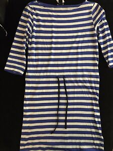 Basic-H-amp-M-Striped-Dress-White-amp-Blue-Drawstring-Waist-3-4-Sleeves-100-Cotton