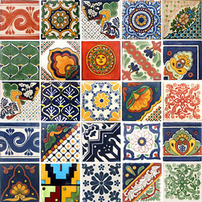 SET #001 contain 25 Mexican 2x2 Ceramic Tiles Handmade Talavera Clay Tile