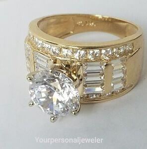5 CT big wide 14k yellow Gold round baguette Man Made Diamond ... 05cfbb096e31