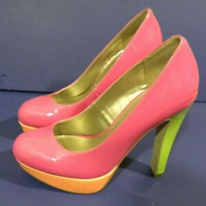 e675eba8ec1e Guess Womens Platform High Heels Stilettos Hot Pink Green Leather 5 ...
