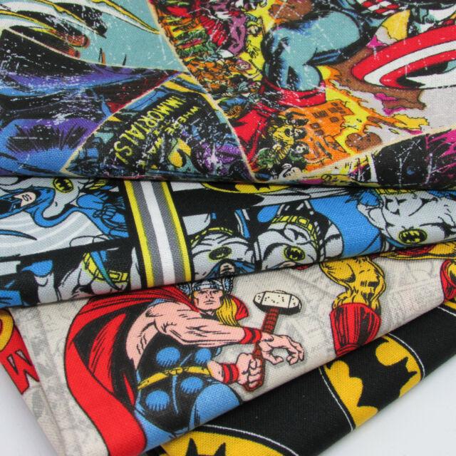 Batman DC Logo Badge Flannel Brushed Cotton Fabric Metre