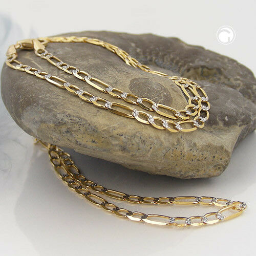 ECHT GOLD Figarokette 14 Karat 585er Halskette Armband Goldkette 2,7 mm bicolor