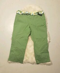 Lane-Bryant-Venezia-Womens-Green-Crop-Pants-Floral-Belt-Size-16-NWT-New
